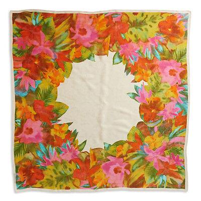 "RALPH LAUREN 100% Silk 42"" Square Floral Print Jacquard GIA Scarf Wrap • NEW"