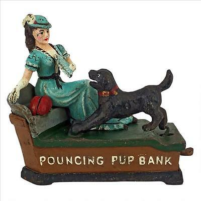 SP2277 - Pouncing Pup Die-Cast Iron Mechanical Coin Bank