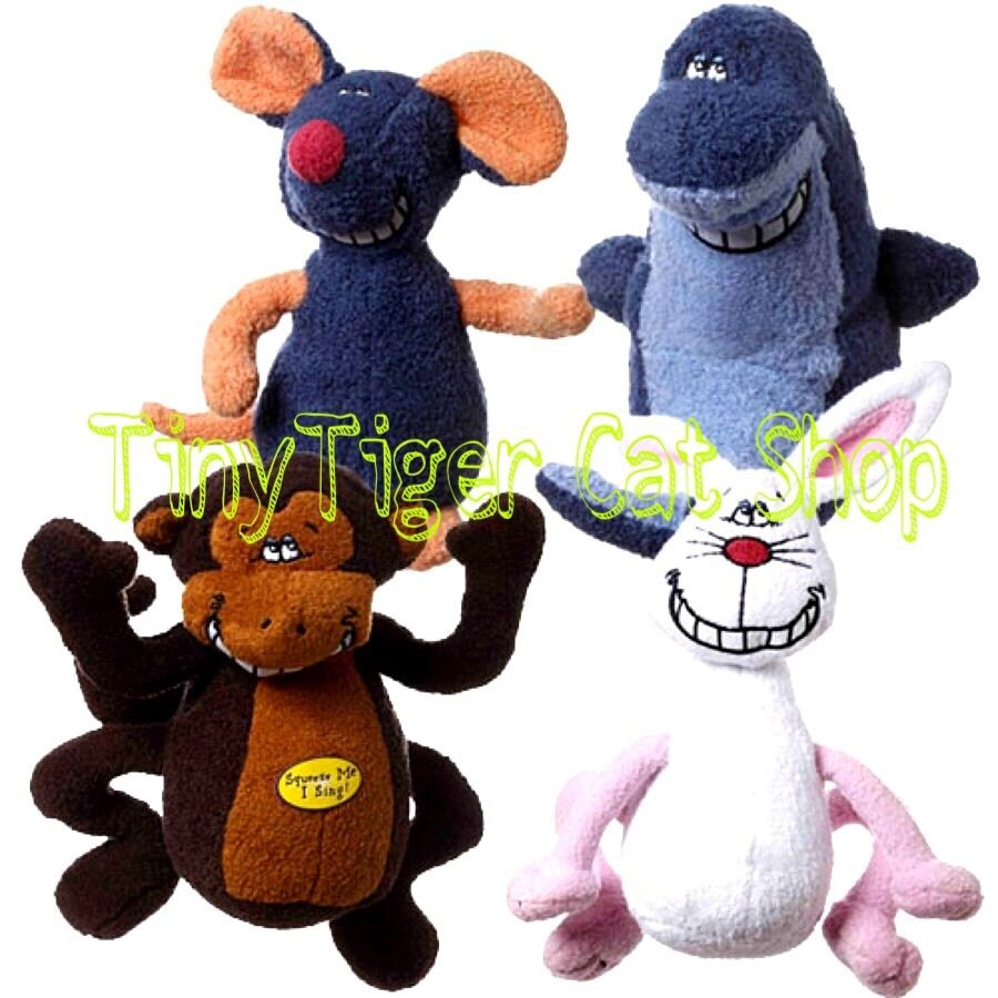Multipet Deedle Dudes Singing Plush Dog Toy monkey rabbit mo