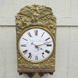 Antique French MORBIER Country Clock  with Repeater Bell Strike, Repousse Facad