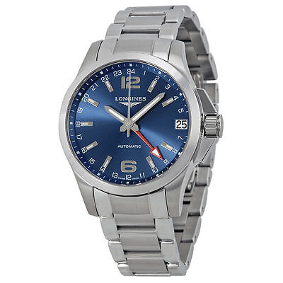 New Longines Conquest GMT Automatic Blue Dial Mens Steel Watch L36874996