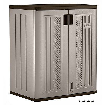 Suncast Base Storage Cabinet Utility Outdoor Shelf Yard Garden Patio Garage Box