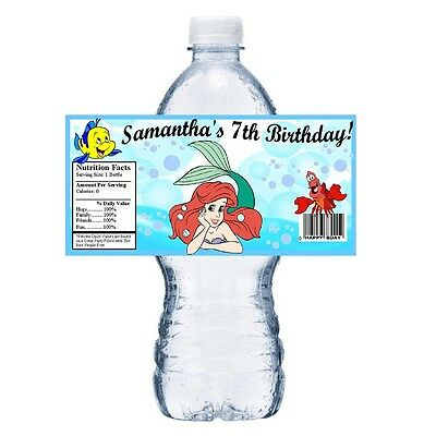 20 LITTLE MERMAID ARIEL PERSONALIZED BIRTHDAY PARTY FAVORS ~ WATER BOTTLE LABELS](Ariel Party)