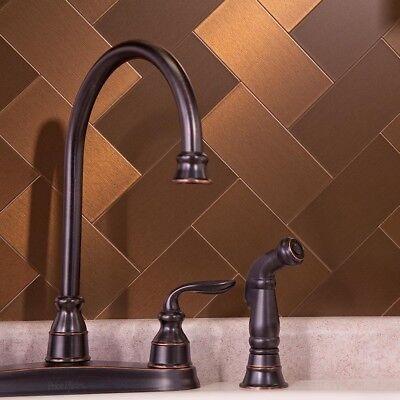 Peel And Stick Tile Self Adhesive Metal Accent Wall Kitchen Backsplash Bronze ()