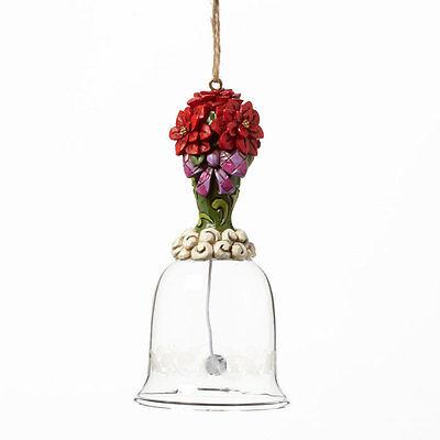 POINSETTIA GLASS BELL ORNAMENT*Jim Shore*NEW*NIB*CHRISTMAS FLOWER*4041129*1C