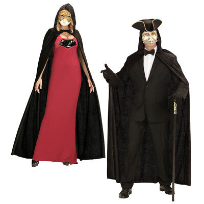 SCHWARZER SAMT UMHANG Karneval Venedig Maskenball Barock Rokoko Kostüm Ball 3266