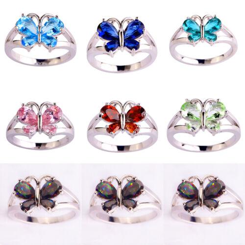Rainbow-Blue-Pink-Green-Topaz-Garnet-Gemstones-Silver-Ring-Size-6-7-8-9-10-11