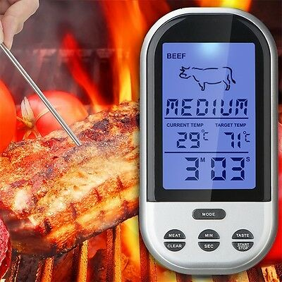 Wireless Remote Smoker Meat Food Thermometer Kitchen Cooking Oven BBQ + Dock F#
