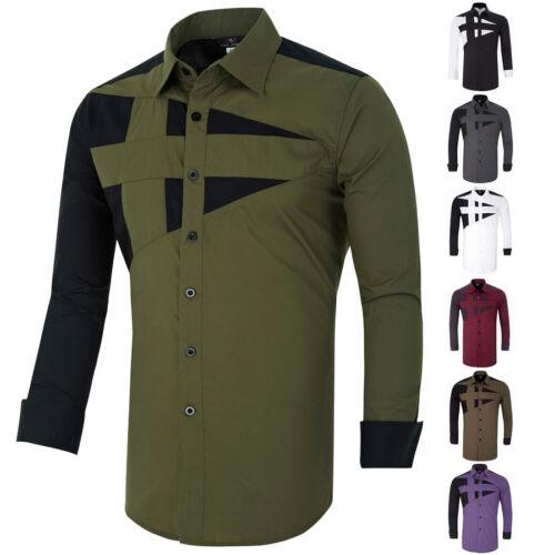 $10.99 - USPS SHIPPING Fashion Men's Casual Shirts Slim Fit Long Sleeve Dress Shirts Tops