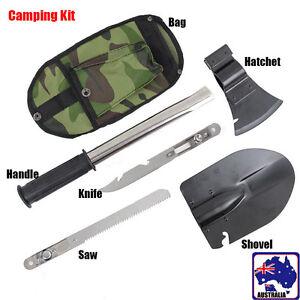 4in1 Camping Tool Kit Knife Shovel Axe Saw Hiking Emergency Tools TSHOV 9944