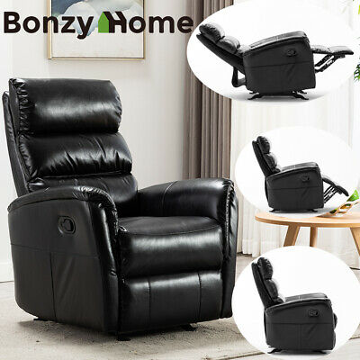 Manual Recliner Chair Leather Sofa Home Theater Seating Living Room Furniture