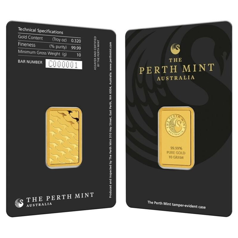 10 gram Perth Mint Gold Bar .9999 Fine (In Assay)