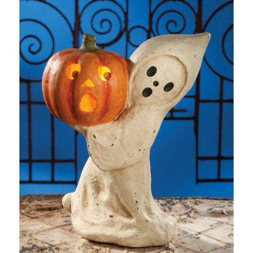 Bethany Lowe - Halloween - Ghost With Pumpkin Large Paper Mache - TJ4227