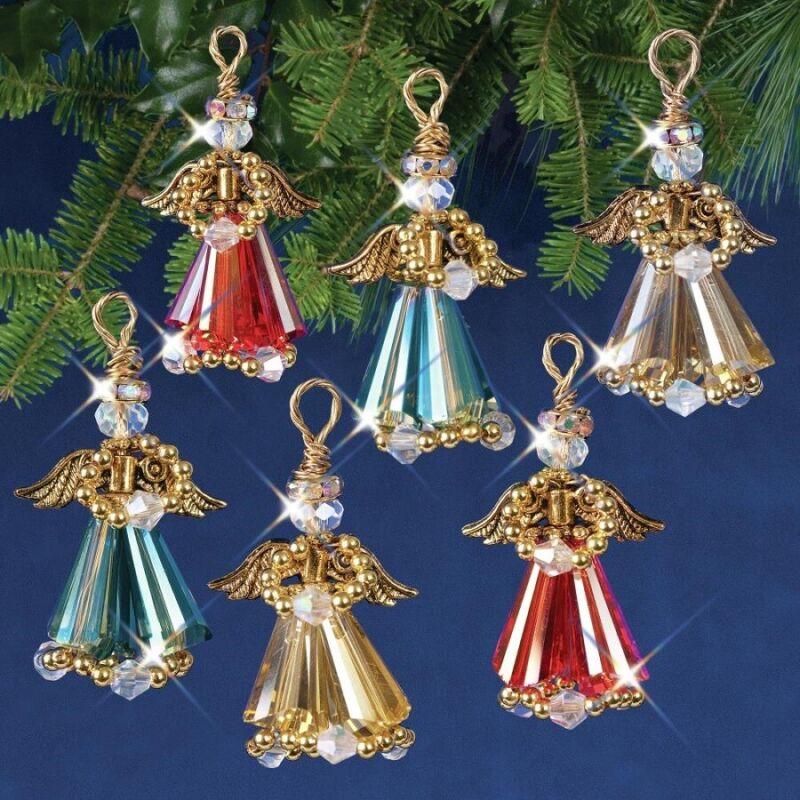 Nostalgic Christmas Beaded Crystal Ornament Kit Crystal Angels Gold Makes 6