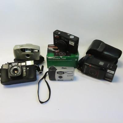 Bundle of Five Cameras with Cases - For Spares or Repair / Not Working