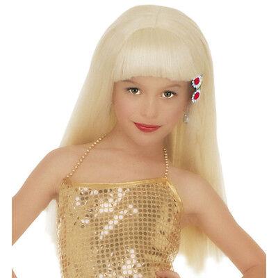 BLONDE PERÜCKE KINDER Karneval Fasching Prinzessin Model Star Kostüm Party  - Star Prinzessin Kinder Kostüm
