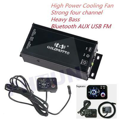 12V Speakers Audio Amplifier MP3 Player Motorcycle FM Radio USB AUX 35W * 4