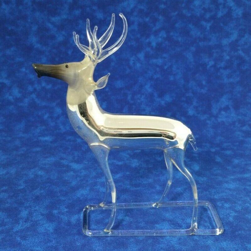 "Vintage Mercury Glass Reindeer Buck Stag Figurine Made in Germany 5.25"" Tall"