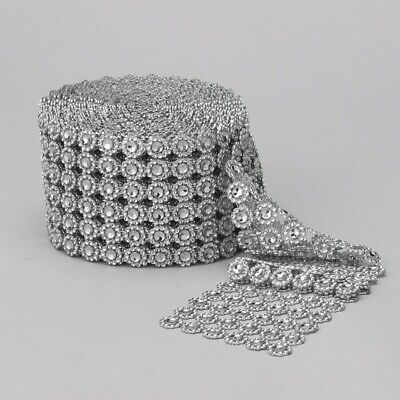 Diamond Flower Shape Mesh Wrap Roll Crystal Rhinestone Sparkle - Flower Shape