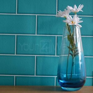 39 metro tile 39 ceramic brick tile effect wallpaper in teal for Tile effect kitchen wallpaper