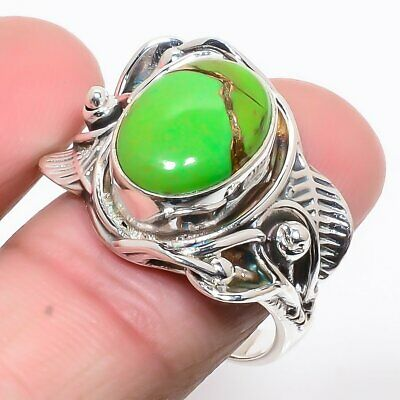 Copper Mohave Green Turquoise 925 Sterling Silver Israeli Ring S.9 R709-66 - $0.01