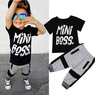 US Toddler Kids Baby Boy Cotton T-shirt Tops Harem Pants Outfits Set Clothes New - Boys Kids Outfit