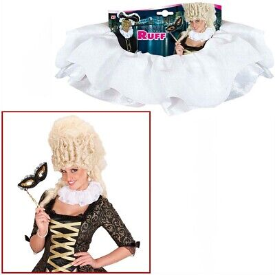 SATIN KRAGEN WEIß Halskrause Mittelalter Barock Rokoko Rüschen Ruff Kostüm - Weiße Kragen Kostüm