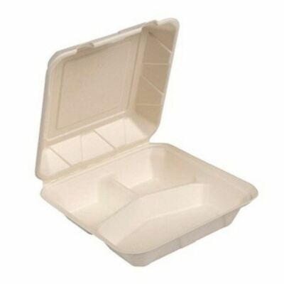 9x9x3 3 Compartment White Sugarcane Fiber Hinged To Go Container 200case