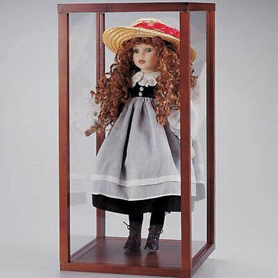 "New In Box Wood & Acrylic Doll display show Case  24"" H x 12"" W x 12"" D inch"