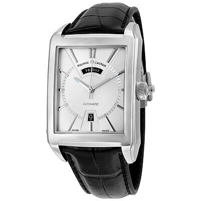 Maurice Lacroix Pontos Rectangulaire Day Date Automatic Silver Dial Black