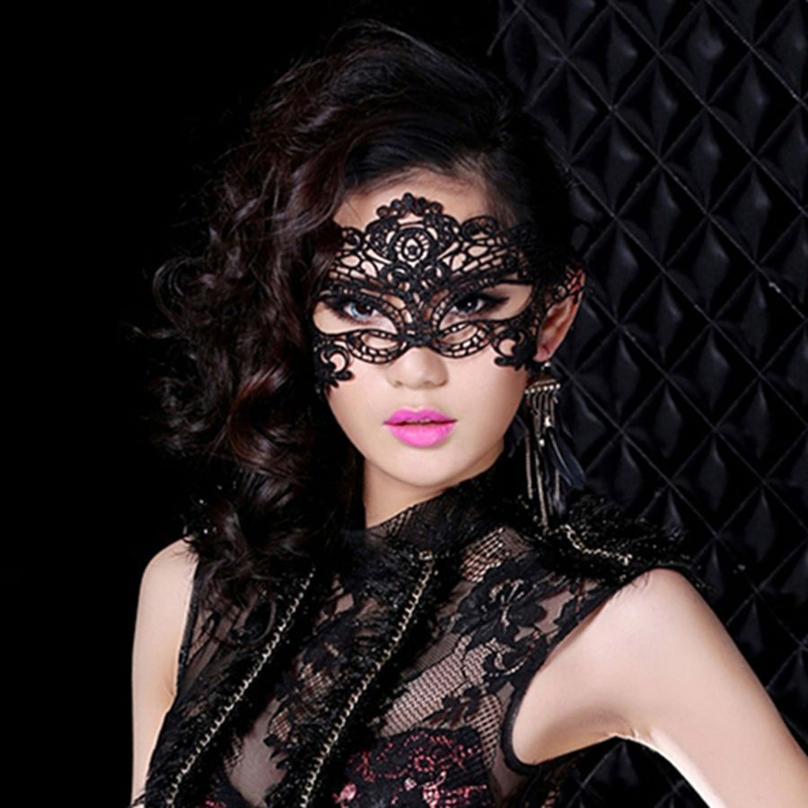 Black Lace Eye Mask Venetian Masquerade Ball Halloween Party Fancy Dress Costume