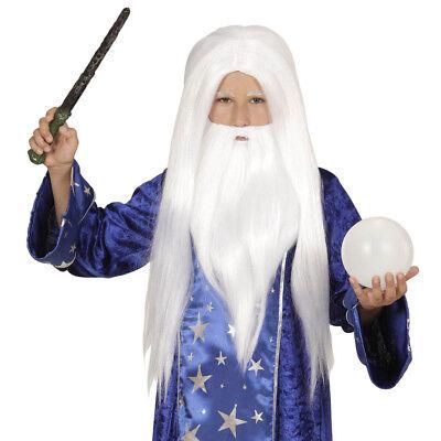 ZAUBERER PERÜCKE & BART KINDER Karneval Fasching Halloween Kostüm Magier # - Halloween Bart Kostüm