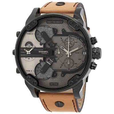 ✅ DIESEL MR. DADDY 2.0 Black IP and Brown Leather Chronogr