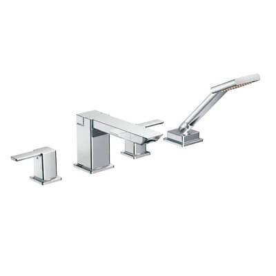 Moen Deck Mount (MOEN 90-Degree 2-Handle Deck-Mount Roman Tub Faucet with Hand Shower in Chrome)