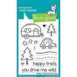NEW LAWN FAWN HAPPY TRAILS CLEAR ACRYLIC STAMP SET