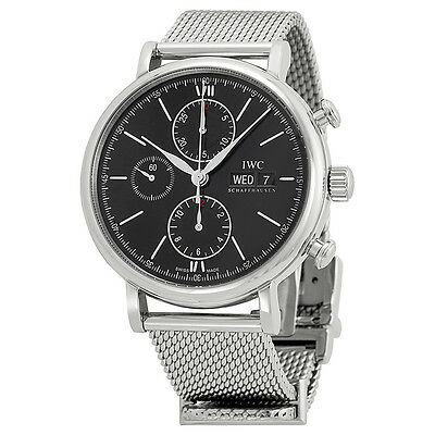 IWC Portfonio Chronograph Automatic Black Dial Steel Mens Watch IW391010