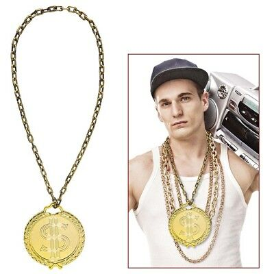 HIP-HOP KETTE # Rapper Gangster Gold Dollar Zuhälter - Hip Hop Rapper Kostüm