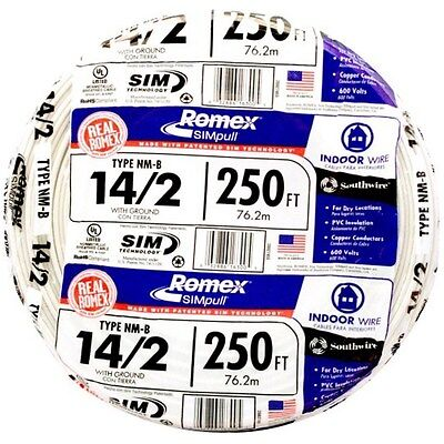 Southwire Romex 250-ft 14-2 600v 14 Awg Non-metallic White Wire With Ground