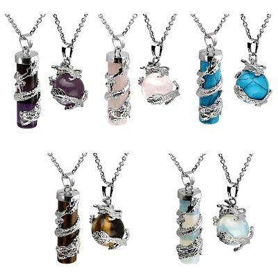 - 1pc/2pc Dragon Wrapped Round Cylinder Stone Necklace Healing Couple Pendant Set