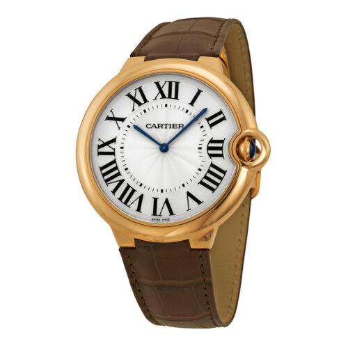 $16193.99 - Cartier Ballon Bleu Extra Large Silver Dial 18kt Rose Gold Leather Mens Watch