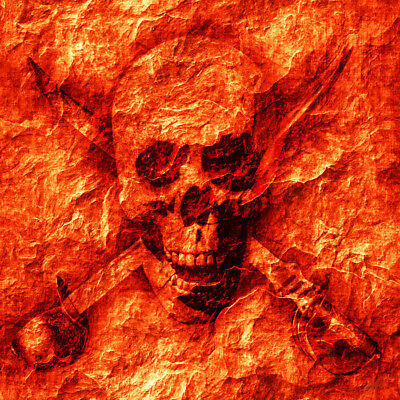 """Abstract Collection - Skull Face - 24"""" x 24"""" Canvas Art Poster"""