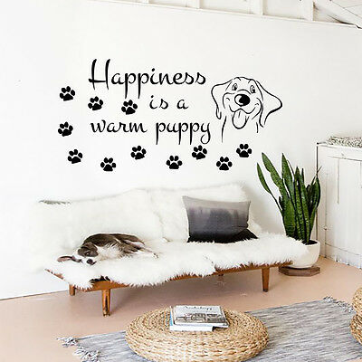 Dog Wall Decals Happiness is a Warm Puppy Decal Vinyl Sticker Dog Quotes MN226
