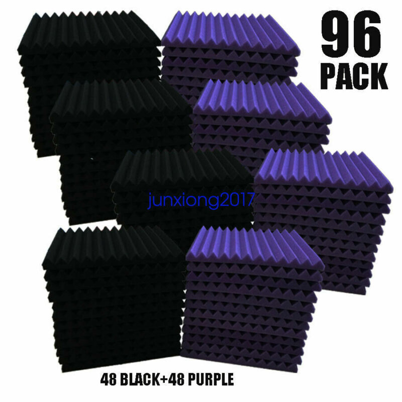"""96 PACK 12""""X 2""""X1"""" Acoustic Foam Panel Wedge Studio Soundproofing Wall Tiles"""