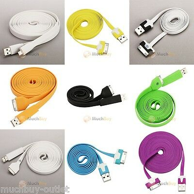 Iphone 3gs Charger (3Ft/6ft/10Ft Flat Noodle USB Data Sync Charger Cable for iPhone 3GS/4G/4S iPod  )
