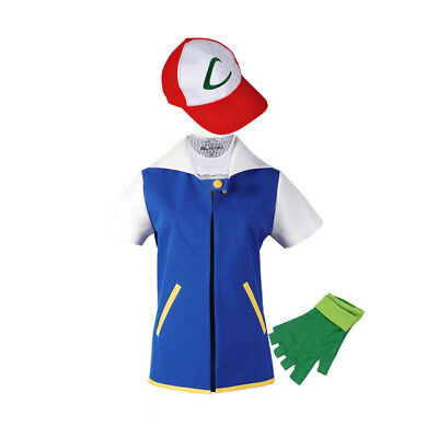 Pokemon Go Ash Ketchum Trainer Cosplay Jacket Coat Pocket Monster Costume Hoodie - Pokemon Ash Costume