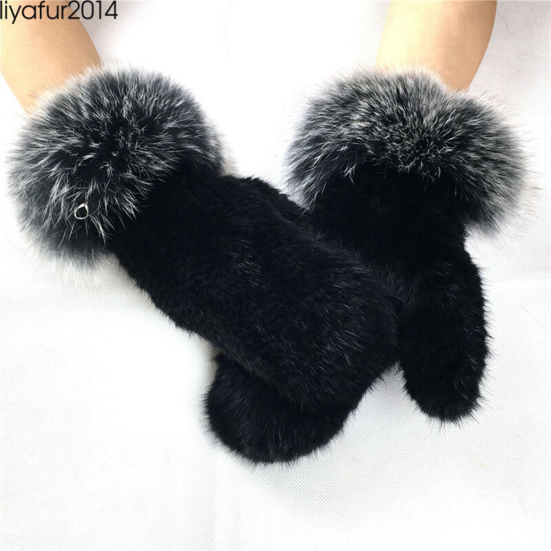 Liyafur Luxury Real Genuine Mink Gloves Mittens With Fox Fur Strip Multi Colur