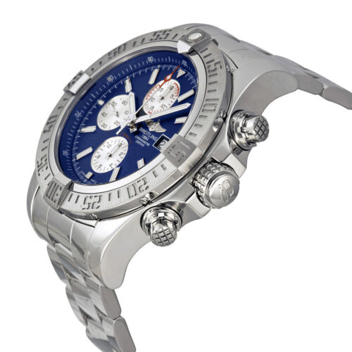 Breitling Super Avenger II Blue Dial Chronograph Stainless Steel Mens Watch