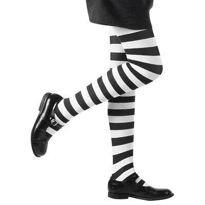 STRUMPFHOSE KINDER Streifen Ringel Weiß Schwarz Karneval Halloween Kostüm # 0122