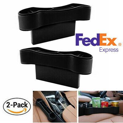 US Shipping 2Pcs Car Seat Gap Storage Box Organizer Cup Holder Black PU Leather