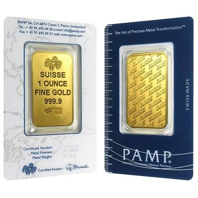 1 Oz Gold Bar   Pamp Suisse   New Design  In Assay